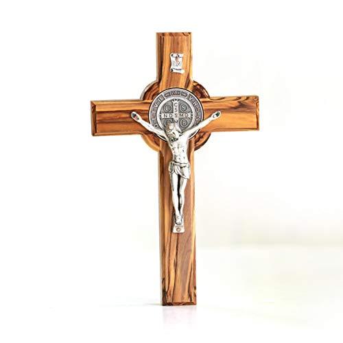KASSIS Olivenholz St. Benedikt Kreuz zum Aufhängen Benediktuskreuz Wandkreuz Kruzifix zur Firmung Geburt Kommunion Taufe 16 x 9,5 cm