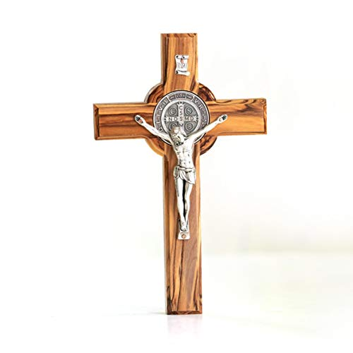 KASSIS Olivenholz St. Benedikt Kreuz zum Aufhängen Benediktuskreuz Wandkreuz Kruzifix zur Firmung Geburt Kommunion Taufe 12 x 8,5 cm