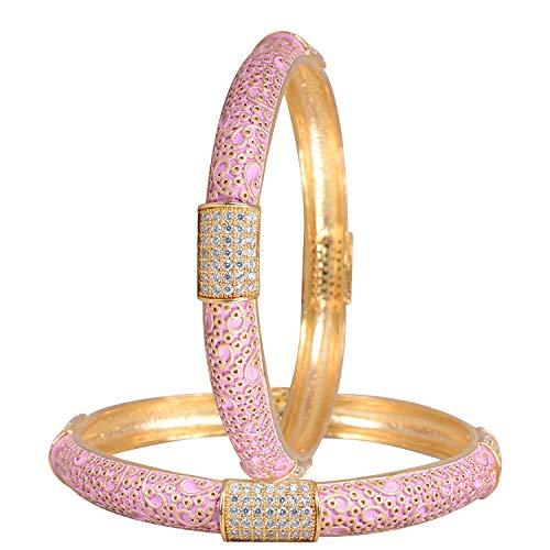 Ratnavali Jewels CZ Zirkonia Gold Tone Glatte rosa Emaille indische Armreifen Bollywood Schmuck Frauen