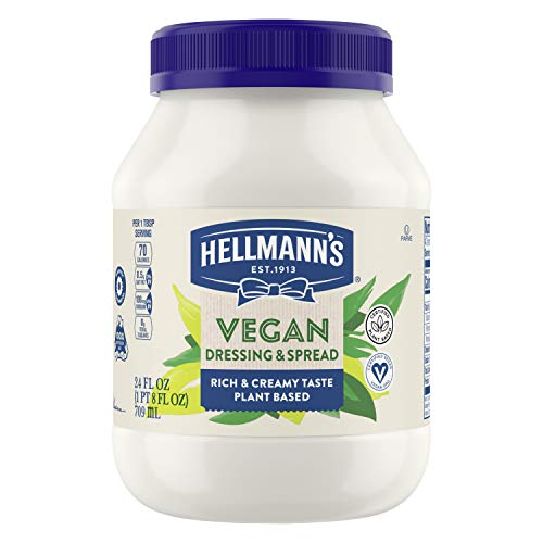 Hellmann's Vegan Alternative to Mayonnaise for Sandwiches, Salads, and Dips Vegan Free From Eggs 24 oz