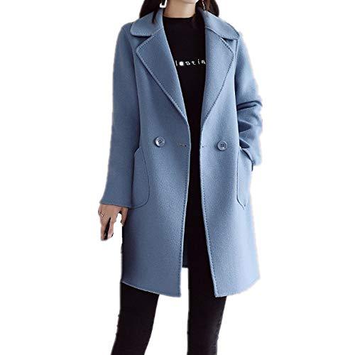 N\P Abrigo de lana pesada para mujer suelto y fino
