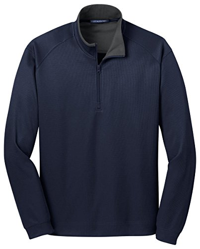 Port Authority Vertical Texture 1/4-Zip Pullover, True Navy/ Iron Grey, Large
