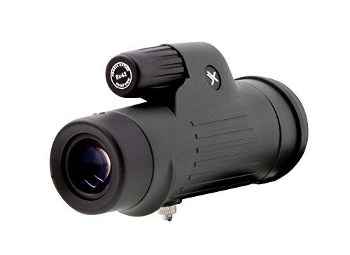 Xgazer Optics 8X42 Point View High Powered Monocular- Waterproof Bird Watching, Hunting, Fishing,Travel, Safari, Hiking, Monocular- Long Range, Eye-Relief Monocular w/Wrist Strap, Case & Cloth