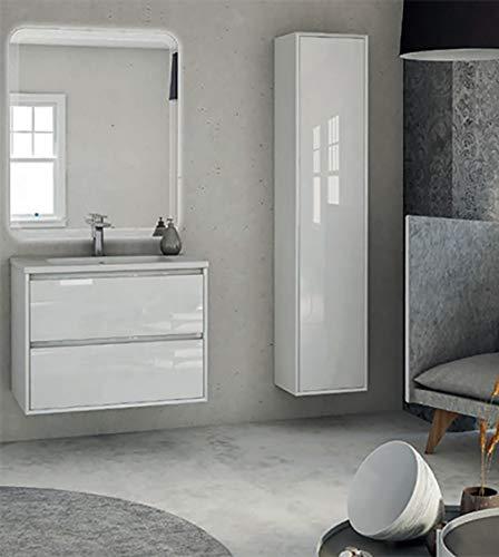 Meuble de salle de bain suspendu moderne en verre blanc, 74 cm, miroir LED, lavabo et colonne