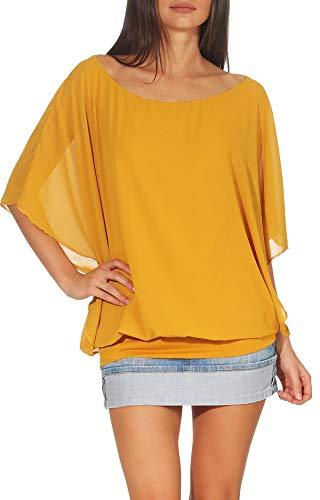 Damen Bluse im Fledermaus Look | Tunika mit Rundhals und breitem Bund | Blusenshirt Kurzarm | Elegant - Shirt 6296 (dunkelgelb)