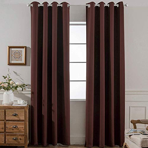 Yakamok Solid Chocolate Brown Blackout Drapes for Theater,Blackout Room Darkening Grommet Panels Window Curtains (Set of 2, 52 x 96 inch)