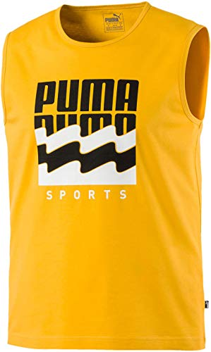 PUMA Men's Summer Graphic Sleeveless TEE, Golden Rod, M