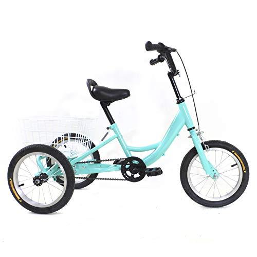 Fetcoi Triciclo infantil de 3 ruedas de 14 pulgadas, con cesta, color verde