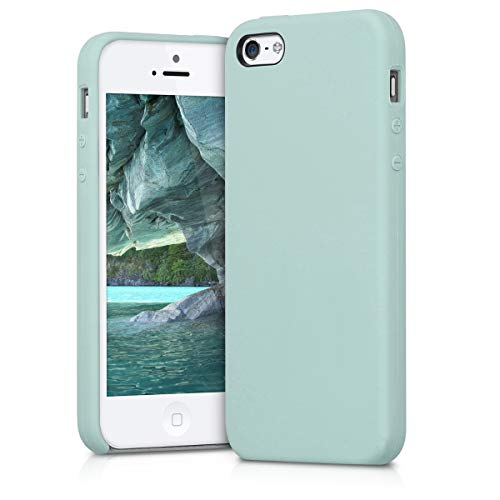 kwmobile Funda Compatible con Apple iPhone SE (1.Gen 2016) / 5 / 5S - Carcasa de TPU para móvil - Cover Trasero en Menta Mate