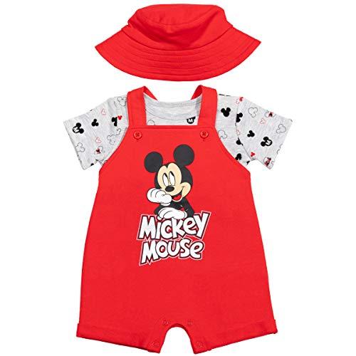 Disney Mickey Mouse - Conjunto de camiseta y sombrero de manga corta para bebé - rojo - 0-3 meses