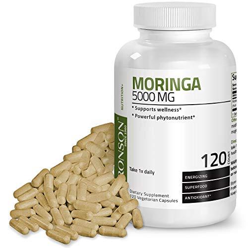 Moringa Oleifera 5000 mg Powder Capsules Extra High Potency 50:1 Extract Energizing Superfood Antioxidant, 120 Vegetarian Capsules