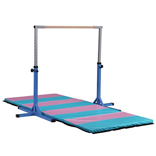HYD-Parts Adjustable Height Kip Bar Fitness Gymnastics Training Bar,Horizontal Kip Bar for Kids,Blue Color (NO MAT Included)