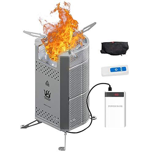 Estufa portátil de madera sin humo de alta eficiencia, con ventilador alimentado por USB para mochilero, supervivencia, senderismo, montañismo y preparación de emergencia