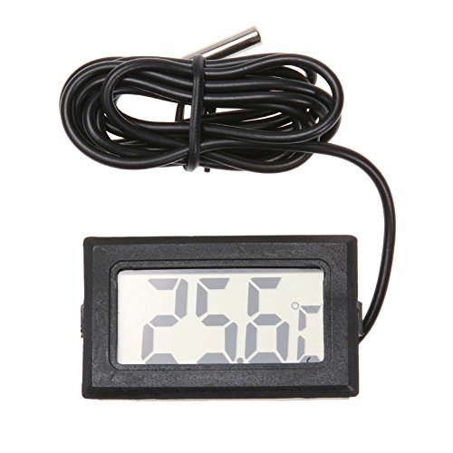 Mikolot Digitale Thermometer Hygrometer, Mini Probe Thermometers Temperatuur Vochtigheid Meter voor Aquarium Reptiel Incubator Pluimvee Koelkast Home Office Woonkamer (Zwart)