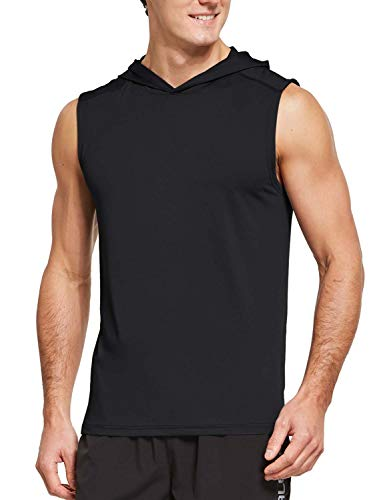 BALEAF Men's Workout Hoodies Sleeveless Tank Tops Athletic Gym Training UV Shirts Lightweight Black Size M