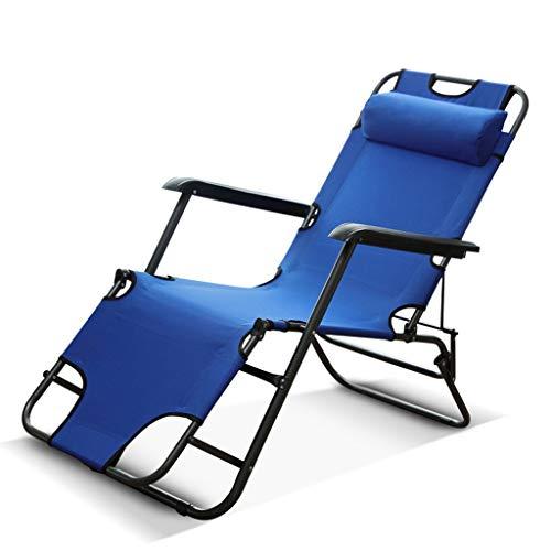 LIYONG Bureau déjeuner lit Pliant lit de Camp Plage Chaise Longue Pause déjeuner Paresseux Balcon Chaise Chaise Longue Pliante (Color : Blue)