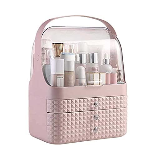 UOOD Organizador de maquillaje Soporte de caja de almacenamiento cosmético con cubierta libre de polvo, mango portátil, tapa impermeable totalmente abierta, cajones a prueba de polvo, excelente para b