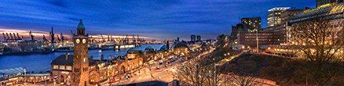 Voss Fine Art Photography Leinwandbild in Galerie Qualität. Hamburg Landungsbruecken mit Hafen. Leinwand Panoramabild aufgezogen auf Naturholz Keilrahmen als Kunst Wandbild | Bild