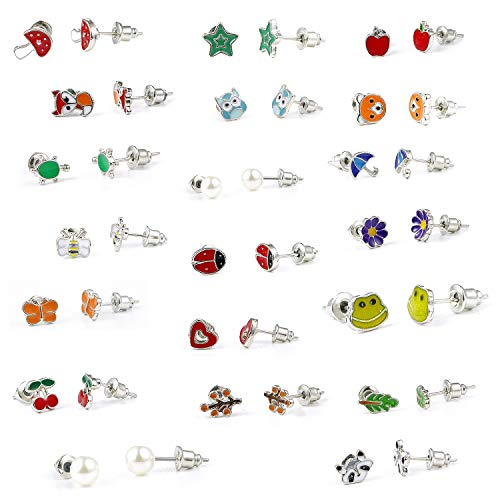 Girls Earrings, 20 Pairs Stainless Steel Hypoallergenic Mixed Color Cute Animals Flower Fruit Pearl Earrings Set for Lovely Girls (Iron Needle) (A)