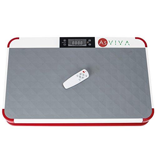 AsVIVA Vibrationsplatte V11 Pro Home Vibrationstrainer mit LED Fitnesscomputer, vertikale Vibrationstechnik - Dämpfung durch Ring-Elastomere, 3-Zonen Trainingsfläche inkl. Fernbedienung