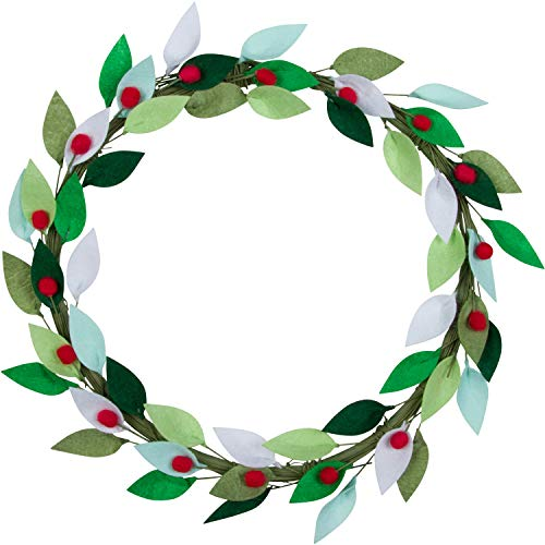 Orchid & Ivy 16-Inch Green Felt Leaf and Red Holly Berry Rustic Front Door Christmas Wreath - Modern Farmhouse Holiday Home Decor for Indoor or Outdoor Walls and Windows