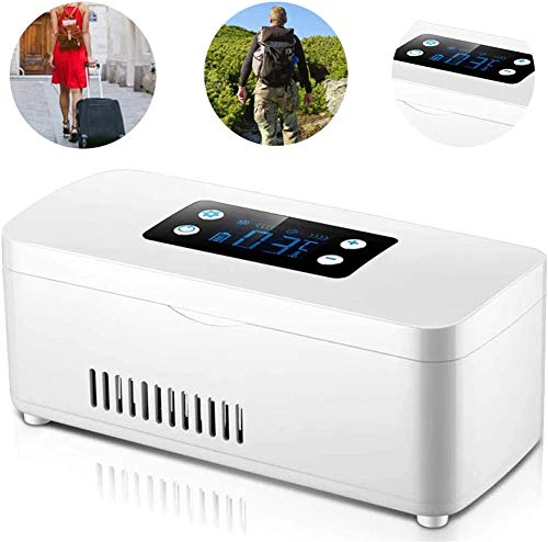 WUAZ Mini Car Frigorifero, Insulina Portatile del Dispositivo di Raffreddamento Mini Medicina Frigorifero Piccola Scatola di Viaggio per I Farmaci, 210 * 91 * 91Mm, Batteria Inclusa