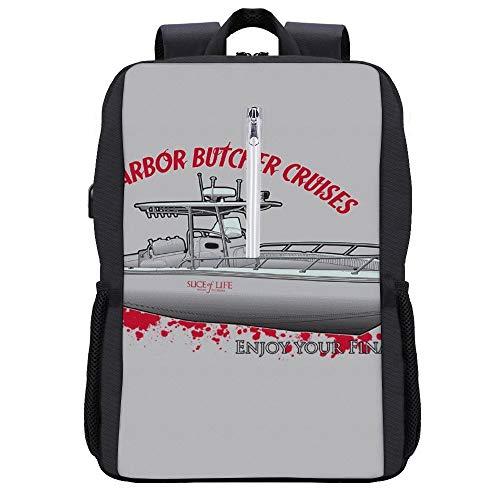 Bay Harbour Butcher Cruises Dexter Backpack Daypack Bookbag Laptop School Bag with USB Charging Port