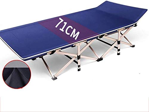 GBLight Sun Lounger Portable Outdoor Folding Bed, Large Single Nap Bed for Office Leisure, Accompanying Bed, Load 300 Kg, Length 190 cm (Color : Blue, Size : Suede/ice Silk pad (2 Sides))