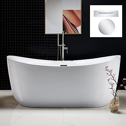 WOODBRIDGE 71' x 31.5' Water Jetted and Air Bubble Freestanding Bathtub, Whirlpool Tub