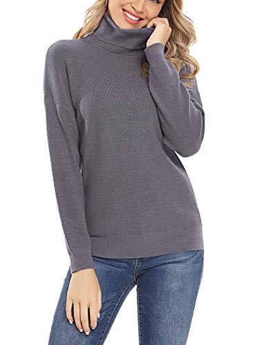 Irevial Suéter Cuello Alto para Mujer Elegante Manga Larga Jersey de Punto Mujer Invierno Cuello Alto Básico Redondo Pullover Tops Suelto para otoño Invierno