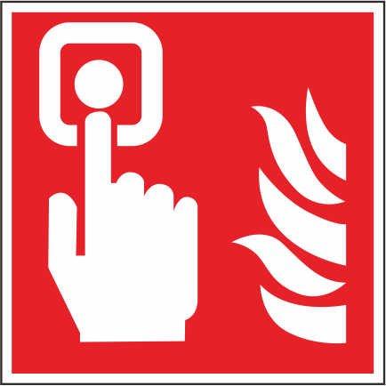 INDIGOS UG - Aufkleber - Sicherheit - Warnung - ISO Sicherheitsetikett Zeichen Internationales Brandmelder Symbol 20x20cm