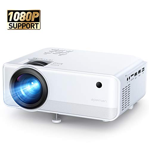 Projector APEMAN 4800 Lumen Mini Portable Projector 1080P Support LED Projector 200' LCD Home Cinema Projector 50000 Hrs LED Life, HDMI/VGA/AV/USB/Micro SD/TV Stick for Home Entertainment[Upgraded]