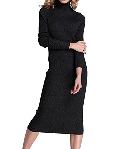 Rocorose Women's Turtleneck Ribbed Long Sleeve Knitted Sweater Dress Black L