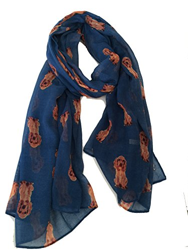 Pamper Yourself Now Marineblau Pudelhund langer Schal - Navy blue poodle dog long scarf
