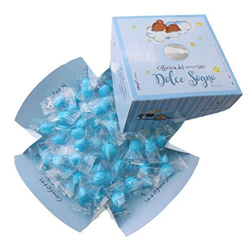 Confetti Mandorla e Cioccolato Incartati Azzurri per Nascita e Battesimo Bimbo 500g Dolce Sogno