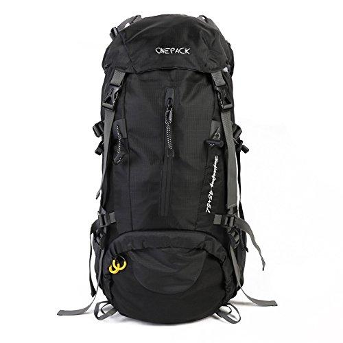 Candora Sac Alpinisme étanche de Grande contenance avec Housse étanche Unisexe pour extérieur Alpinisme/Camping/Trekking/Voyage/Escalade, Noir