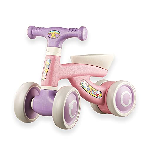 Baby Balance Bike Toddler Tricycle Bike No Pedals 9-36 Months Ride-on Toys Gifts Indoor Outdoor for 1-3 Year Old Boys Girls First Gift Options for Birthday Thanksgiving Christmas (Purple Pink)