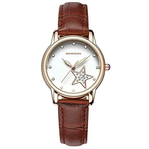 Allskid Frauen Uhren Strass Sterne Wählen PU-Leder Uhrarmband Quarz Damen Elegant Armbanduhren (34mm, Kaffee)