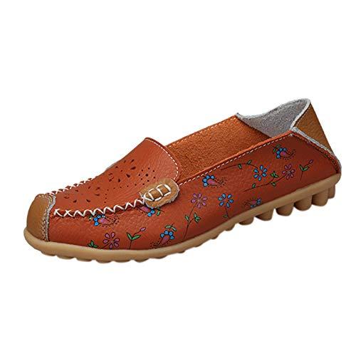 URIBAKY - Zapatillas de piel huecas con estampado de mocasines informales, zapatillas de running en carretera, exterior, running, fitness, transpirables, Marrón (marrón), 39 EU