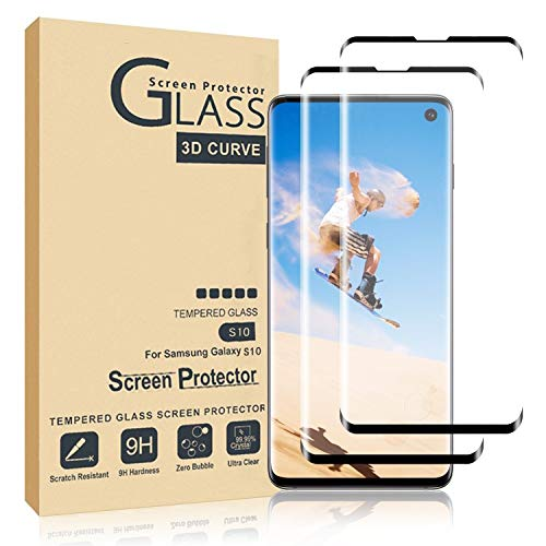 Comfort Valley Galaxy S10 Screen Protector,Full Coverage Tempered Glass[2 Pack][3D Curved] [Anti-Scratch][High Definition] Tempered Glass Screen Protector Suitable for Galaxy S10…