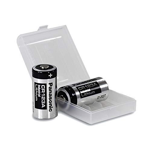 2X Panasonic CR123A Industrial Lithium Batterien CR 123 A Batterien 3V, inkl. Batterieschutzbox von Weiss – More Power + (u.a. geeignet als Batterien arlo Batterien)