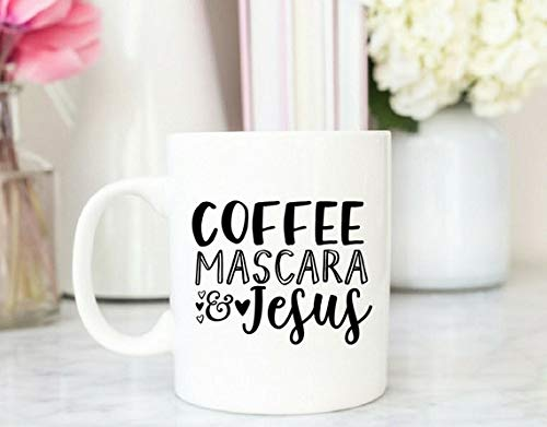 11 Ounces Coffee Mug, Coffee Mascara And Jesus Mug Coffee Mug Gift Funny Mug Mug Gift Christian Mug Coffee And Jesus Bible Verse Mug Only One Mug