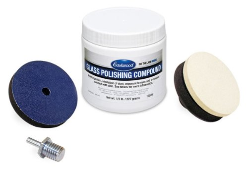 Eastwood Pro Glass Polishing Kit Scratch Haze Remover Diamond Fast Powder & Felt Polishing Buff with Drive Spindle Adapter