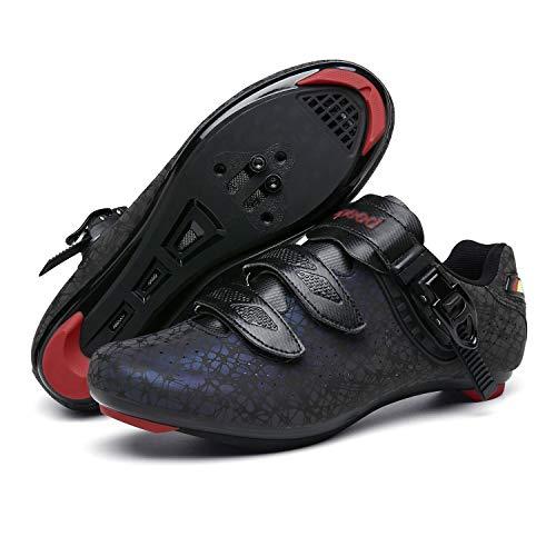 LFANH Zapatos de ciclismo para hombre, zapatos de bicicleta de carretera, zapatos giratorios con hebilla, accesorios de ciclismo MTB transpirables, zapatos de autobloqueo, color negro, 4UK