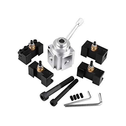Juego de postes y soportes para herramientas de cambio rápido, soporte para postes de herramientas de torno de aleación de aluminio, para torneado, refrentado, corte, moleteado, taladrado y escariado,