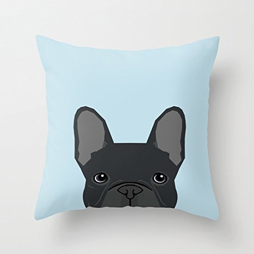 UOOPOO Frenchie Art - French Bulldog Dog Art Dog Portrait Cute Black French Bulldog Cotton Canvas Pillow Case 16 x 16 Inches Square Cushion Cover for Pet Lovers Print One Side