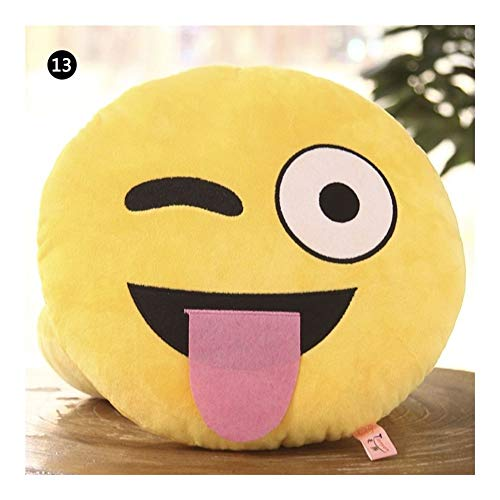 HUAJIANGHU 30 CM Soft Yellow Round Cushion Emoticon Stuffed Plush Smiley Pillow Activity Small Hold Pillow Pillow (Color : Pattern 13)