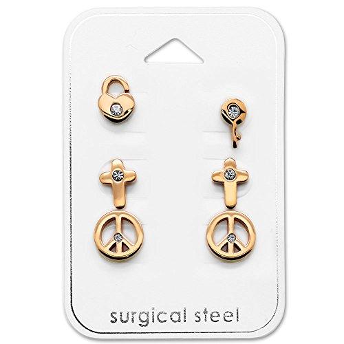 Tata Gisele - Set di 3 paia di orecchini in acciaio 316L rosato e cristallo, con chiave/lucchetto, motivo: Peace & Love