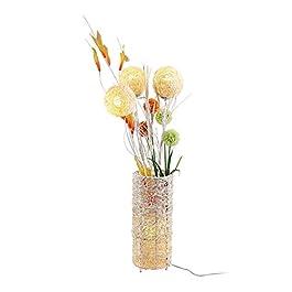 ACwhisper LED Lampadaire de style européen tissé main fleurs en rotin Lampe Salon Canapé Chambre LED chevet Vitrine…