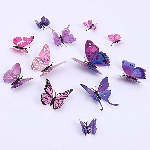 Butterfly Wall Decals 3D Butterflies Wall Stickers DIY Removable Mural Decals Home Decoration Kids Room Bedroom Decor Living Room Decor (Butterfly Purple)